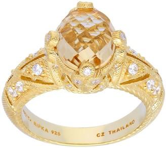 Judith Ripka Sterling & 14K Clad Champagne Quartz Ring