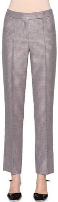 Giorgio Armani Mini-Houndstooth Narrow-Leg Trousers, Multi Check $1,200 thestylecure.com