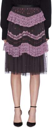Needle & Thread 'Astra' ruffle lace trim floral embroidered tulle skirt