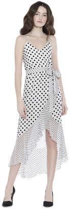 Alice + Olivia Mable Midlength Ruffle Mock Wrap Dress