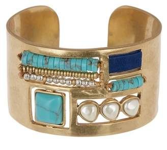 Lucky Brand Turquoise & 8mm Pearl Cuff Bracelet