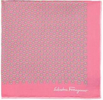 Salvatore Ferragamo Men's Gancio-Print Silk Twill Pocket Square