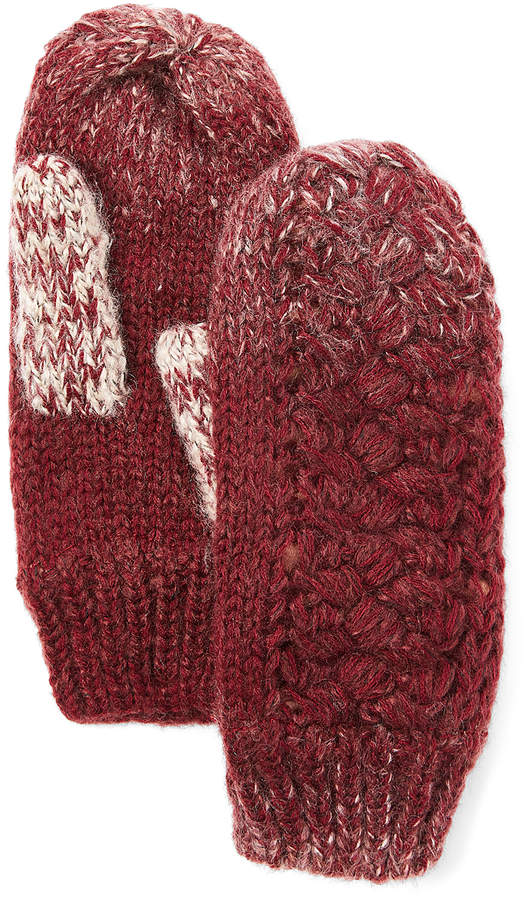 Wine Ombre Knit Mittens