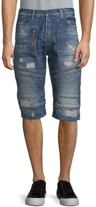 PRPS Men's Car Trip Distressed Denim Shorts