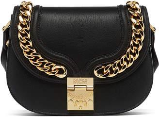 MCM Trisha Chain Shoulder Bag In Pebble Grain Leather