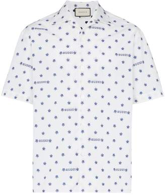 Gucci star and logo print cotton shirt