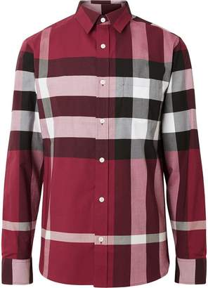 Burberry Check Stretch Cotton Shirt