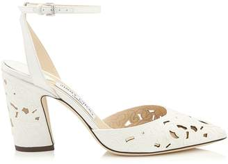Jimmy Choo MICKY 85 White Perforated Lace Fabric Pointy Toe Pumps