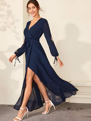 Shein Embroidered Flower Wrap Belted Maxi Dress