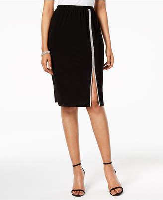 MSK Rhinestone-Trim Slit Skirt