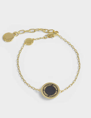 Marc Jacobs Logo Disc Bracelet in Black and Gold Brass
