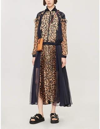 Sacai Leopard-Print Chiffon Maxi Dress