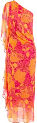 Diane von Furstenberg Printed Silk One Shoulder Dress