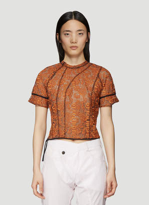 Ottolinger Embroidered Lace Top in Orange