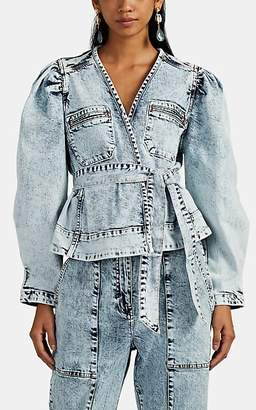 Ulla Johnson Women's Jamie Acid-Washed Denim Crop Jacket - Blue