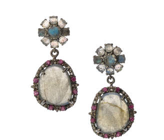 Bavna Black Silver Freeform Drop Earrings with Labradorite & Rhodolite