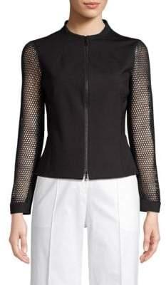 Lafayette 148 New York Mesh-Sleeve Zip Jacket