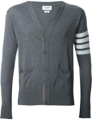 Thom Browne V-Neck Cardigan With 4-Bar Stripe In Medium Grey Merino