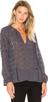 House of Harlow 1960 x REVOLVE Sophie V-Neck Blouse in Navy $198 thestylecure.com
