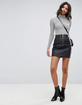 Asos Puffer Mini Skirt with Stud and Zip Detail