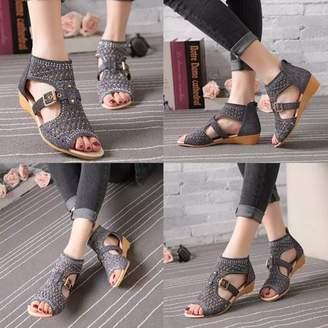 ONLINE Women Gladiator Sandals Leather Zipper Hollow High Heels Summer Shoes