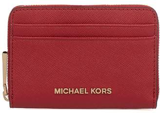 Michael Kors Bright Red Money Pieces Saffiano Leather Card Holder