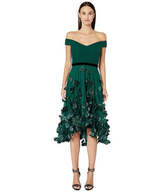 Marchesa Off-the-Shoulder Hi-Lo Cocktail Dress w/ 3D Flower Degrade and Draped Bodice