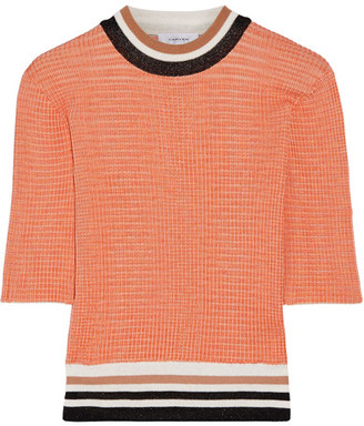 Carven - Color-block Ribbed-knit Sweater - Orange $300 thestylecure.com