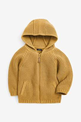 Next Boys Ochre Zip Through Hooded Cardigan (3mths-7yrs) - Yellow