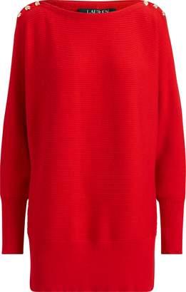Ralph Lauren Button-Shoulder Cotton Sweater
