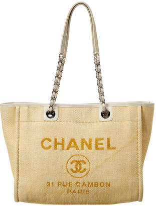 Chanel Yellow Canvas Large Deauville Tote