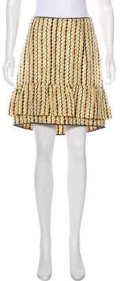 Marni Leather-Trimmed Silk Skirt