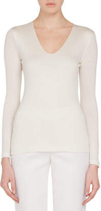 Akris V-Neck Long-Sleeve Cashmere-Silk Jersey Top