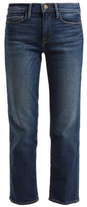 Frame Le Nouveau Straight Leg Cotton Blend Jeans - Womens - Mid Blue