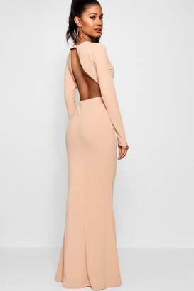 boohoo Long Sleeve Open Back Maxi Dress