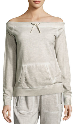 Grey State Kelsey Off-the-Shoulder Kangaroo Pocket Top