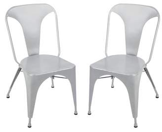 Merax Tolix High Back Chic Stackable Metal Dining Chairs, Set of 2