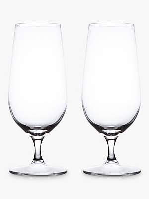 John Lewis & Partners Cellar Footed Pilsner Crystal Glasses, Clear, 390ml, Set of 2