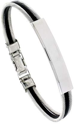 Sabrina Silver Stainless Steel Cable ID Bracelet For Men Black Rubber Accent 5/16 inch wide, 9 inch long