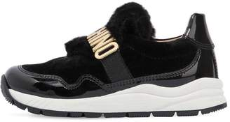 Moschino Patent Leather & Faux Fur Sneakers