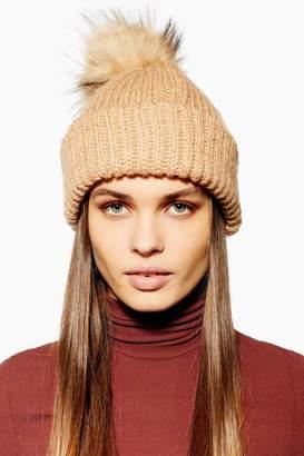 Topshop Knitted Faux Fur Pom Pom Beanie