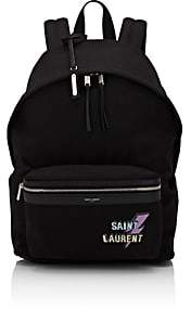 Saint Laurent Men's Logo Canvas Classic Backpack-Black