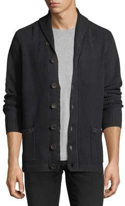 Neiman Marcus Stonewash Shawl-Collar Cardigan