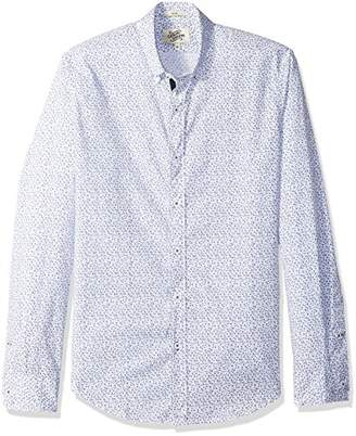 Casual Terrains Men's Tailored Slim-Fit Vintage Button-Down Collar Printed Taped Shirt .