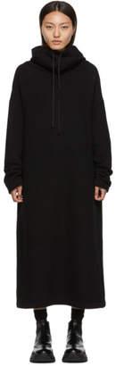 Yohji Yamamoto Regulation Black Slit Hoodie Dress