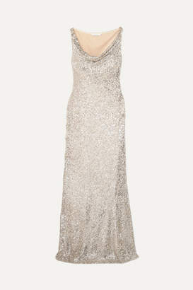 Naeem Khan Draped Sequined Stretch-tulle Gown - Silver