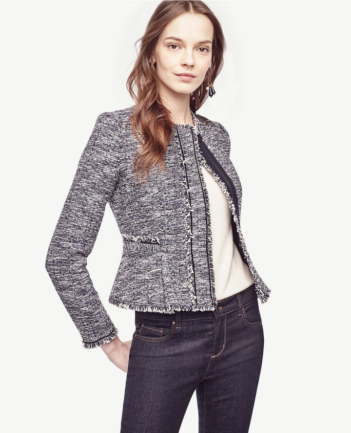 Ann TaylorPetite Fringe Tweed Jacket