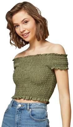Miss Selfridge Khaki Shirred Bardot Top
