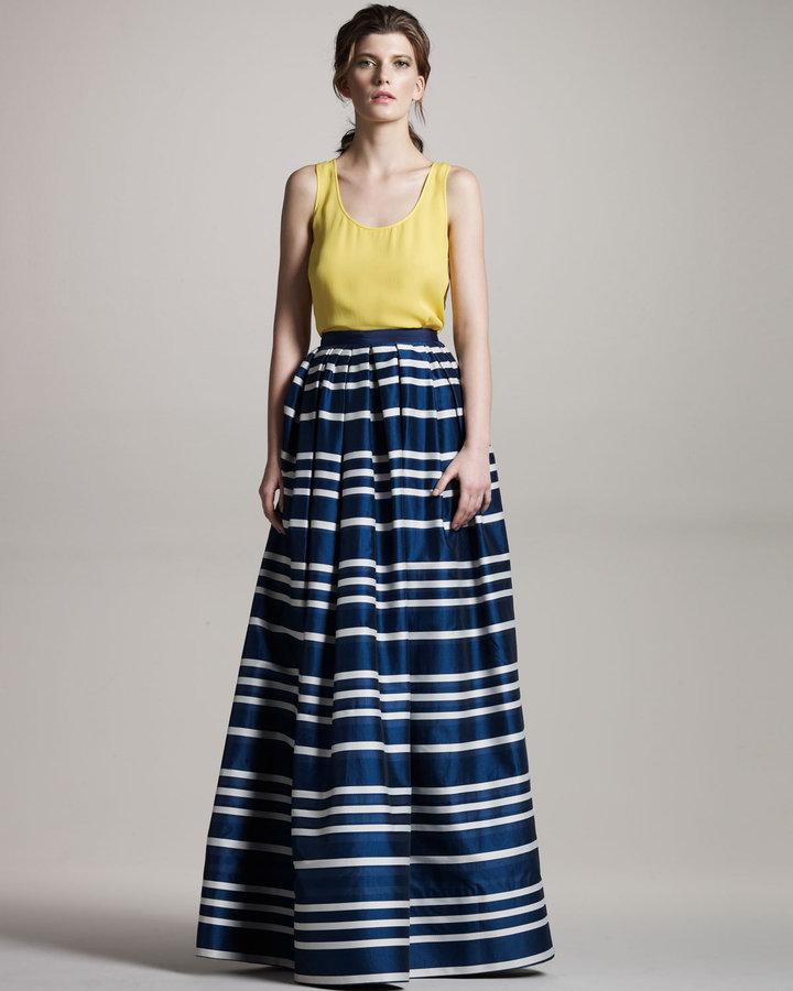Wes Gordon Long Striped Skirt