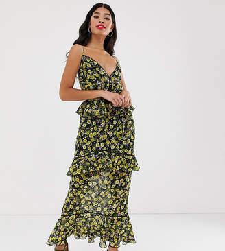 Dark Pink cami strap midi chiffon dress in yellow floral